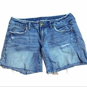 Lacey and Distressed AE denim cut off style shorts